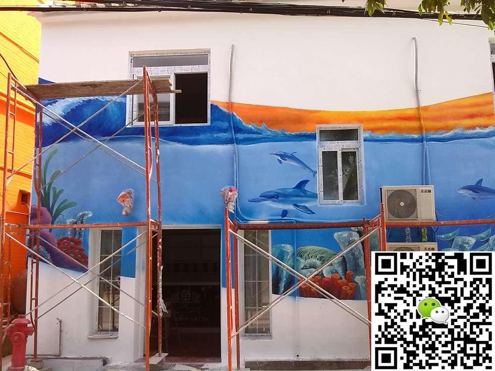 葵涌鲨鱼堡彩绘 - 深圳3d立体画_深圳墙绘__手绘墙画